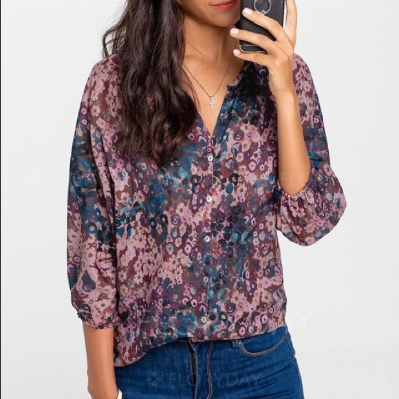 359a7b744073f Floral Casual Polyester V-Neckline 3 4 Sleeves. NWT. floryday